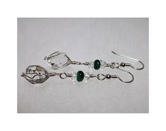 ww1369 - EMERALD & HERKIMER DIAMOND Wirewrap Earrings - Argentium Sterling Silver