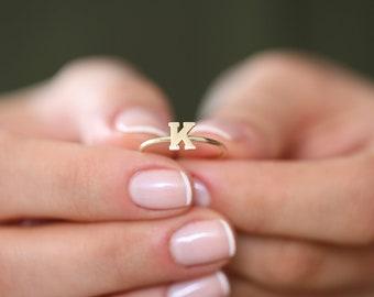 Gold Letter Ring/ 14K Solid gold/ Letter Ring/  Initial Gold Ring / Stackable Letter Ring/ Stackable Initial Rings/ Dainty Letter Ring