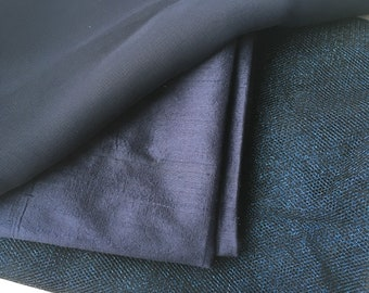 Silk fabric silk chiffon fabric tulle sparkle net navy blue