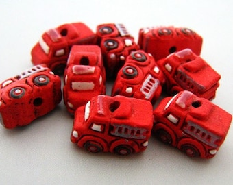 10 Tiny Fire Truck Beads