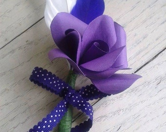 Rose Boutonnieres - Paper Flower Boutonniere | Wedding Buttonhole | Rose Boutonniere | Rose Buttonhole | Rose Buttonhole