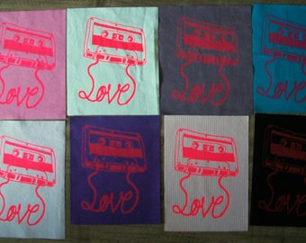 Hand Printed Love is a Mixtape Back Patches Eight Colors Available Punk Cassette Tape 1980s