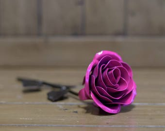 Metal Rose • Pink • Iron Anniversary • 6th Anniversary • Hand Forged • Wrought Iron • Blacksmith • Personalized Gift • Valentines Day