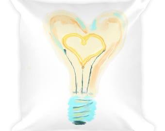 Love Pillow, Lighbulb Pillow, Light Hearted Pillow, Loving Light Pillow, Love Life Bulb, Light Bulb Love Pillow, Light Bulb Heart Pillow, He