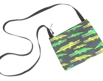 Mini crossbody bag - Later Gator Aligator fabric  perfect for travel or a night out!