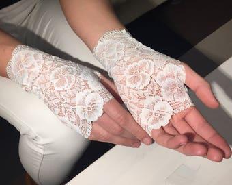 Bridal Gloves, Wedding Gloves, White Lace Gloves. Gloves, stretch lace, fingerless lace glove. White with light purple accent.