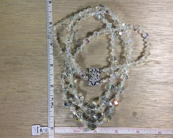 Vintage Two Strand Necklace Aurora Borealis Beads Used Lot LF