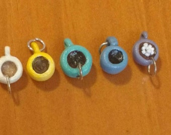 Mini mug charms, set of five