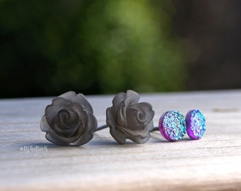 Flower and Faux Druzy Studs. Gray Roses and Blue Rainbow Faux Druzies. Two Pair Set. Twilight Rose