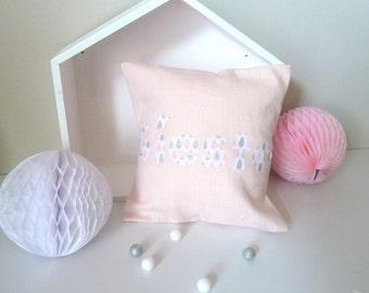 Small cushion NAP linen rose and drops silver