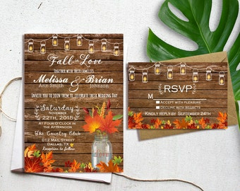 Fall Wedding Invitation, Autumn Wedding Invitation, Fall in love invitations, Wedding Invitations, Rustic Fall Wedding Invitation