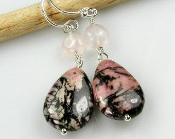 Pink Rhodonite and Rose Quartz Silver Dangle Earrings