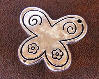 2 pendants Butterfly antique silver, 40mm x 33mm