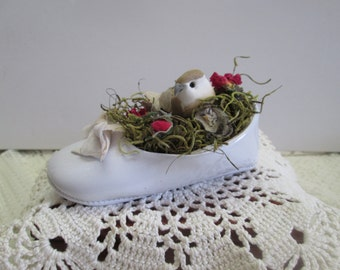 """Sweet little bird nested in a """"lost shoe"""" surrounded with dried rosebuds, nature decor, birdnest, shabby decor, Spring decor,"""