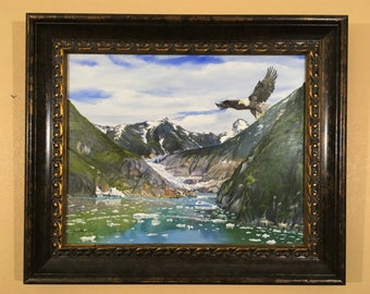 Alaska, Soaring Eagle, Glacier, Tracy Arm Fjord, Sawyer Glacier, Alaskan Glacier,Eagle Soaring Over Glacier,Alaskan Wilderness