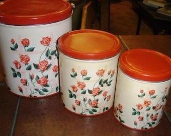 vintage tinware ... 3 Pce ROSES CANNISTER Set ... Vintage household kitsch