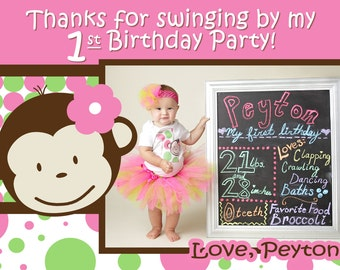 Mod monkey invitation mod monkey invite photo 1st birthday monkey thank you mod monkey thank you photo 1st birthday party girl pictures 1 year old multiple options available stopboris Images
