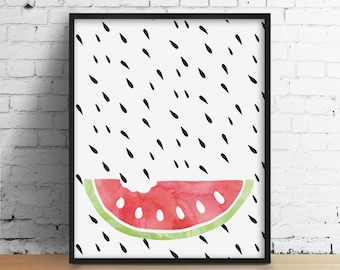 Watermelon Poster, Watermelon Kitchen, Kitchen Poster, Modern Kitchen Art, Watercolor Food Art, Watercolor Print, Kitchen Wall art