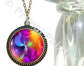 "Original Angel Art Necklace, Chakra Jewelry, Reiki Pendant ""The Gift"""