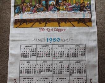 Vintage Linen Tea Towel, 1980 Calendar, The Last Supper, Calendar Tea Towel, 28 x 16
