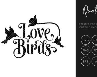 Love Birds  SVG Cut File, Love Bird SVG, Quote svg, silhouette cameo, cricut explore, instant download, svg cut files, dxf cut files