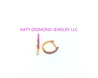 Pink Sapphire 14K Gold Small Huggies / Small Hoops / Diamonds Hoops / Tiny Huggies / Second Hole Earrings/ Huggy