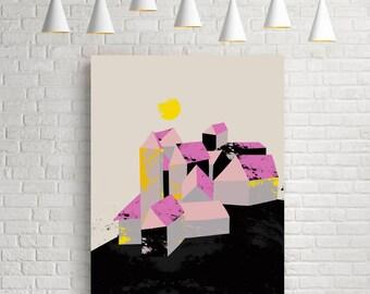 Art print, graphic print, graphic art, graphic art print, geometric print, geometric art, geometric wall art, village, houses, fine art, art