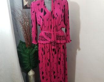 Vintage Wrap Style Dress, Hot Pink, Virginie Boutique, Size L / XL