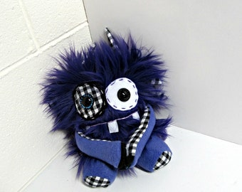 Plush Monster - Handmade Monster Plush - Cute Monster Toy - Royal Purple Faux Fur Monster - Hand Embroidered Soft Monster Toy - Weird Toy