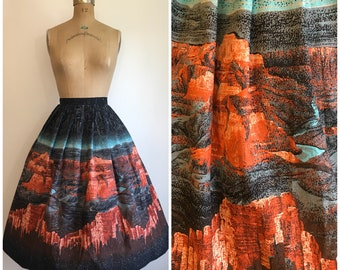 Vintage 1950s Scenic Grand Canyon Novelty Print  Border Skirt 50s Cotton