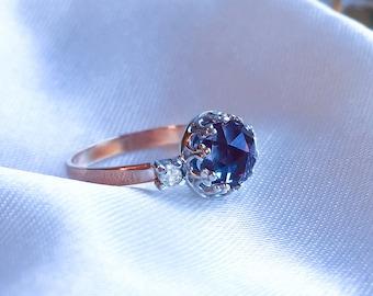 Alexandrite Diamond ring, Alexandrite & Moissanite Diamond ring, Alexandrite Engagement ring, 9ct, 14ct, 18ct solid Gold ring.