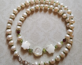 White Freshwater Pearls 925 Sterling Silver Choker Necklace