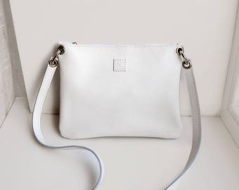 Leather crossbody bag with zipper pocket, White leather bag, Cross body purse