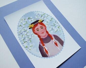 Anne Shirley - illustration // print, children's illustrations, Anne of Green Gables