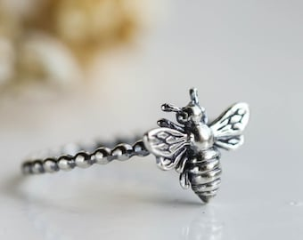 Honey Bee Stacking Ring, Sterling Silver Ring, Stacking Ring, Bee, Insect