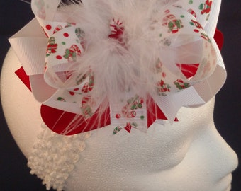 Christmas Candy Cane Peppermint Over-The-Top Hair Bow Hairbow