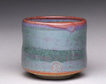 handmade ceramic cup, pottery tea cup, yunomi with green ash glaze and orange shino