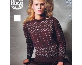 Women's Sweater Knitting Pattern - Sirdar 6389
