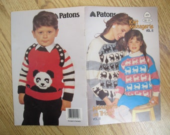 Patons Knit Menagerie Vol II / Patons 499 / cat sweater knitting pattern / Dragon sweater pattern