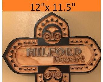Walt disney world resort polynesian resort inspired personalized sign wood handmade custom carved