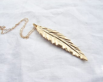 Long Leaf Necklace. Matte Gold Leaf Charm with 14K GF Chain. Simple Modern Jewelry by Smallbluethings