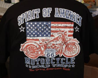 Spirit of America, flag with a  Motorcycle, on a  Black T shirt with stars.