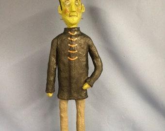 Paper mache sculpted Halloween Frankenstein movie monster scary creature figure