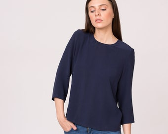 Pure silk navy blouse with 3/4 sleeves