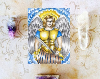 Archangel Michael Prayer Card Angel Art Archangel Art Spiritual Art Fantasy Art Mythology Sacred Art Angel Art Print Angels Divine Art