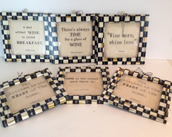 Hand Painted Wood Black / White CHECK Darling Signs !!
