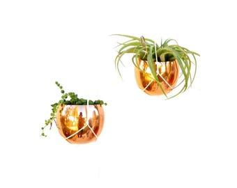Pair of Modernist Copper Hanging Orb Planters || Macramé Style Hangers || Modern Mid-Century Decor