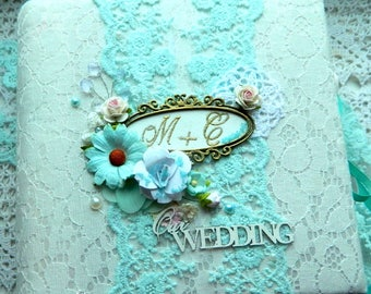 Lace photo album Wedding gift book Shabby chic album Photo book Memory album Handmade scrapbook Personalized album Scrapbook album Lovestory