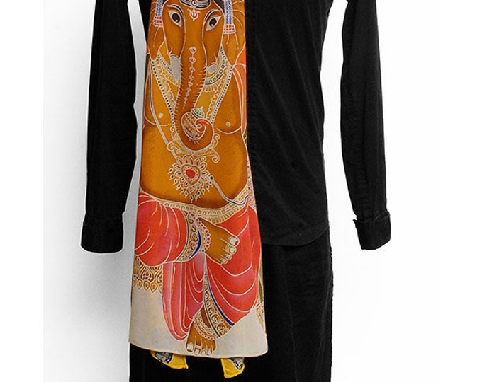 Unique Buddha and Ganesha silk scarf with black and white bamboo