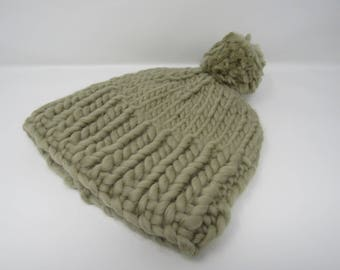 Handcrafted Knitted Hat Beanie Green Pom Pom 100% Merino Wool Female Adult